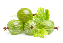 Ripe Green Gooseberry With Leaf Isolated