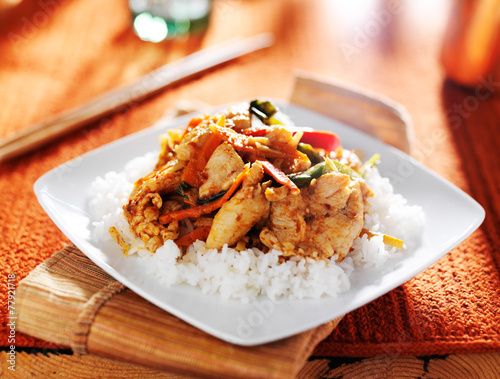 Photo  spicy thai panang chicken red curry