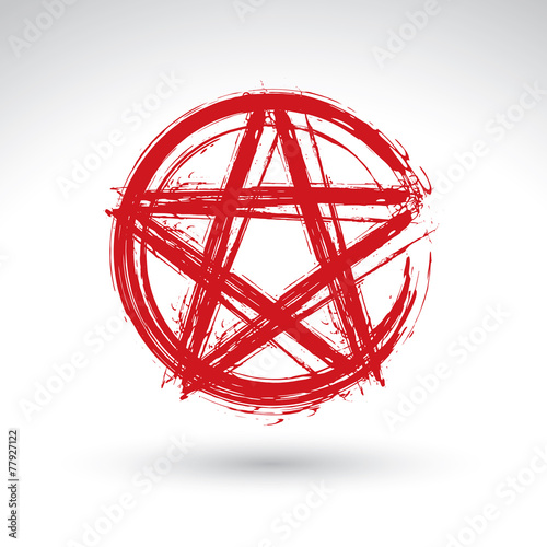Photo  Hand drawn pentagram icon scanned and vectorized, brush drawing
