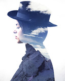 Double exposure of girl wearing hat profile and mountains - 77934198