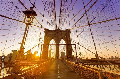 Fototapety, obrazy: Brooklyn Bridge sunset New York Manhattan