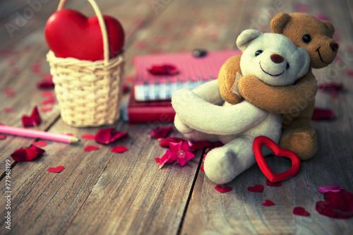 Fotografie, Obraz  Krásné medvídky na dřevěné podlahy pro Oslavte den, grunge fi