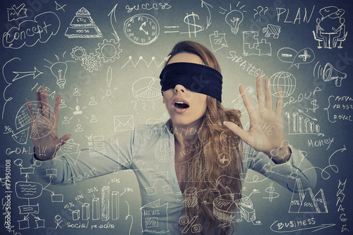 Fotografie, Tablou Blind woman making plans navigating through social media