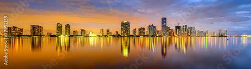 Photo Stands Panorama Photos Miami, Florida Biscayne Bay Skyline Panorama