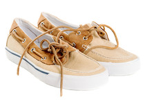 Pair Of Boat Shoes Isolated On White Left Side View