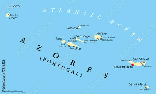 Plakat Mapa polityczna Azorów