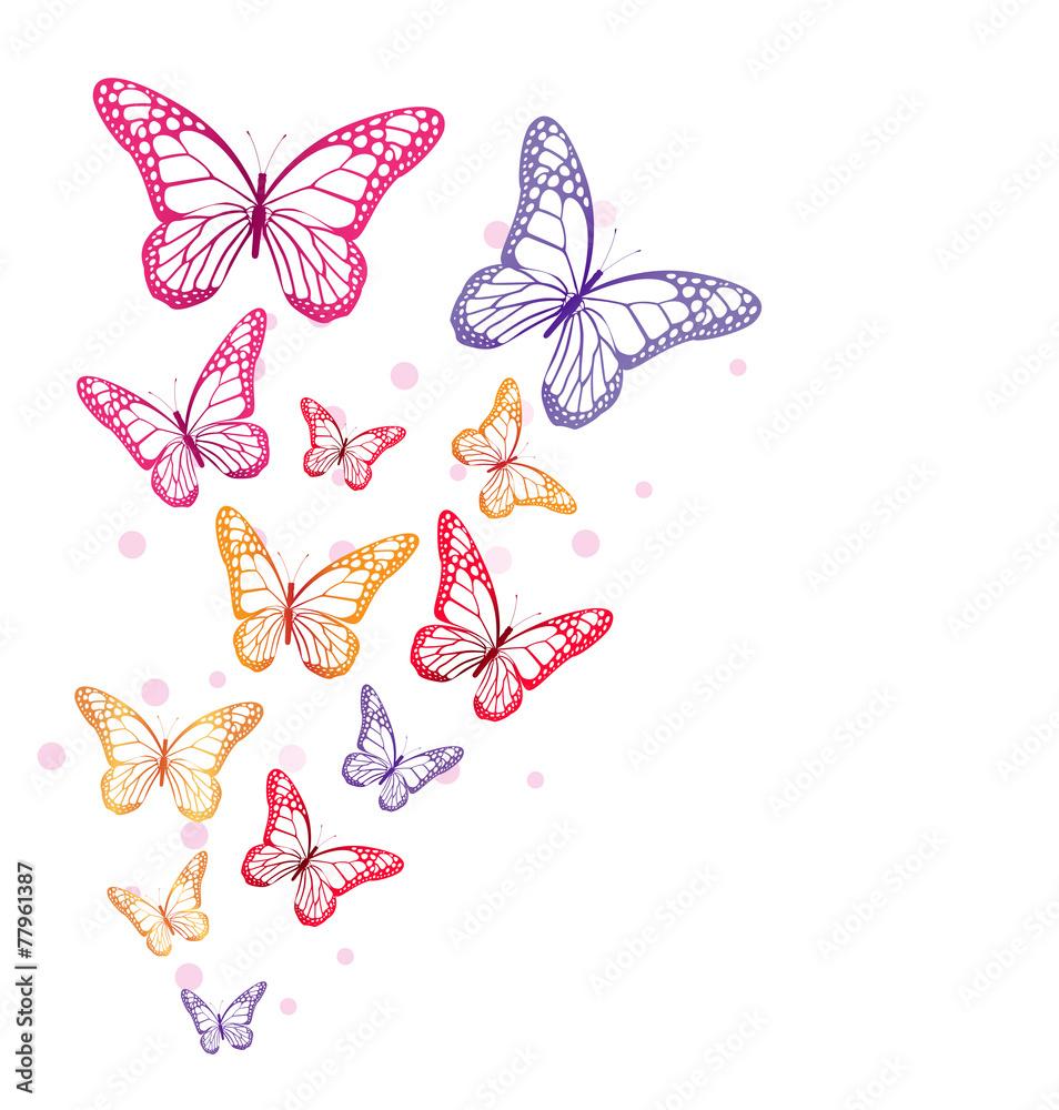 Realistyczne kolorowe motyle na białym tle na wiosnę
