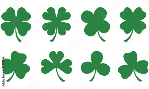 Fototapeta Four and Three Leaf Clovers