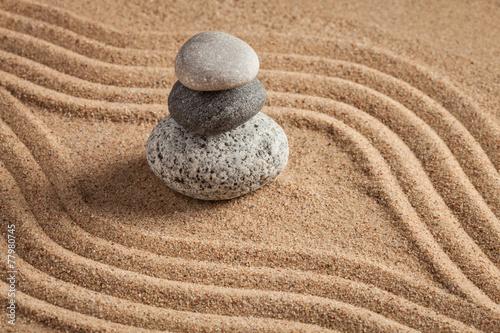Acrylic Prints Stones in Sand Japanese Zen stone garden