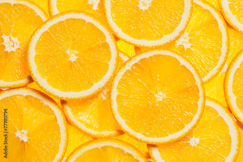Colorful orange fruit slices