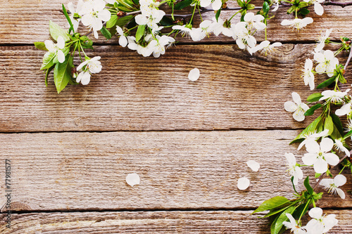 Garden Poster Floral flowers on wooden background