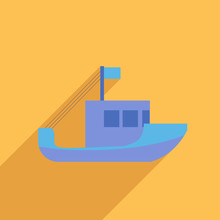 Flat Icon Of Fishing Boat