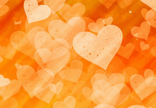 Orange Hearts Backgrounds Of L...
