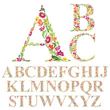 Font Made With Leaves, Floral ...