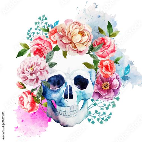 Printed kitchen splashbacks Watercolor skull Skull