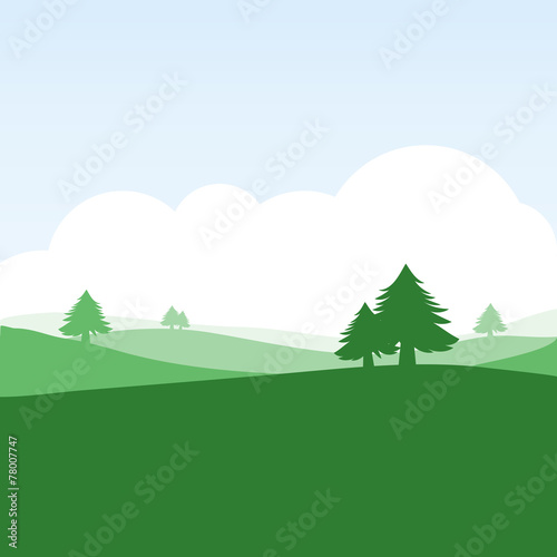 Obraz na płótnie colorful silhouette summer landscape background