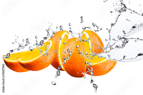 Orange fruits and Splashing water - 78007965