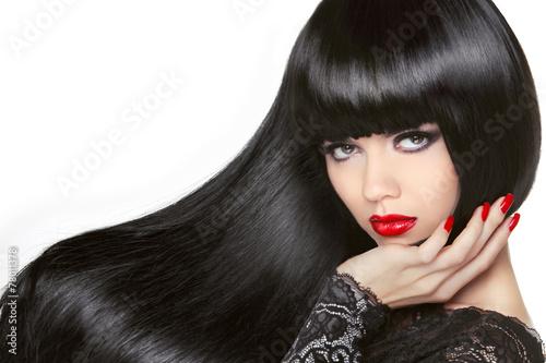 Long Hair Beautiful Brunette Girl Healthy Black Hairstyle Red