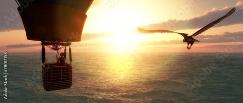 Obraz sunset and hot air balloon - fototapety do salonu