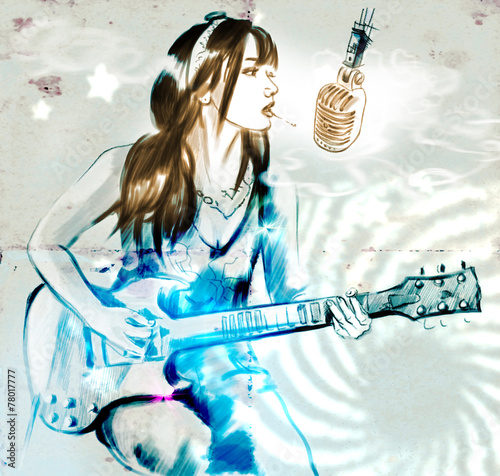 palenie-gitarzysta-recznie-rysowane-pelnowymiarowa-ilustracja