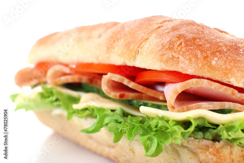 Staande foto Snack Fresh sandwich isolated on white