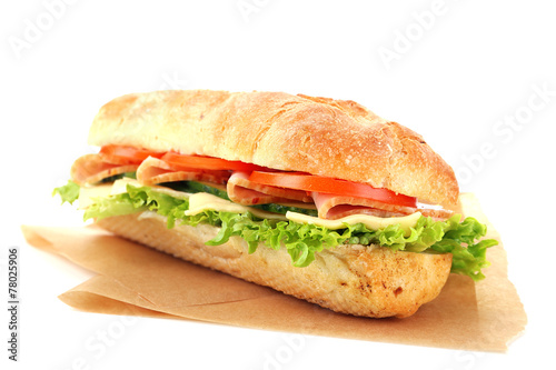Staande foto Snack Fresh sandwich on parchment isolated on white