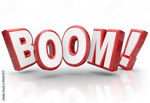 Photo Boom 3d Word Explosive Growth Increase Sales Economy Improvement