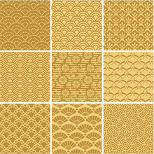Gold Seamless Wave Patterns For Web Background, Surface