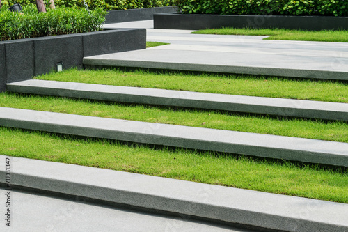 Photo Stands Stairs stairway with green grass and gravel texture ,landscape architec