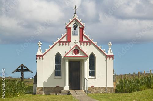 Valokuvatapetti Lamb Holm chapel facade in Orkney. Scotland. UK