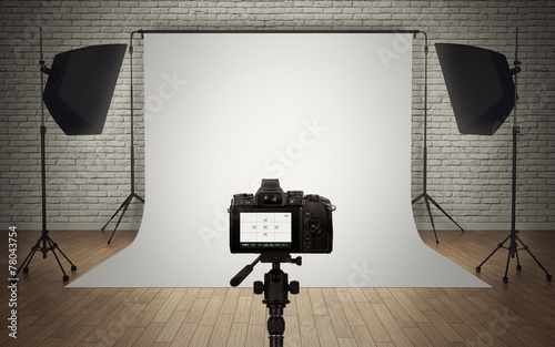 Photo  Photo studio light setup with digital camera