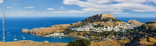 Panorama of the Lindos acropolis in Rhodes