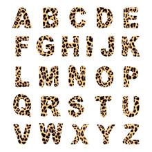 Trendy Alphabet Set, Leopard Pattern Design, Vector Font