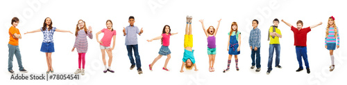 Fototapeta Combination of boys and girls isolated on white