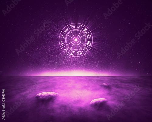 Obraz na plátně Zodiac signs horoscope landscape