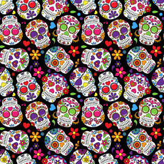 FototapetaDay of the Dead Sugar Skull Seamless Vector Background