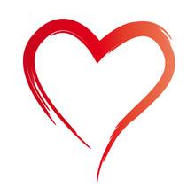 Gemaltes Rotes Herz, Symbol De...
