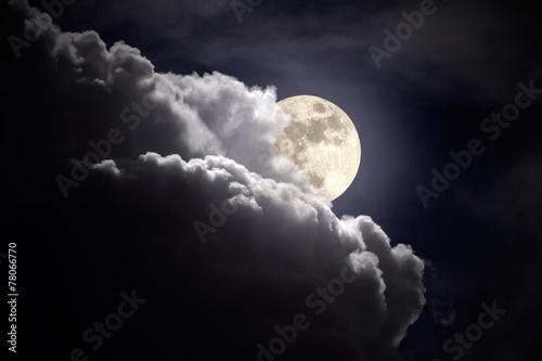 Full moon overcast night