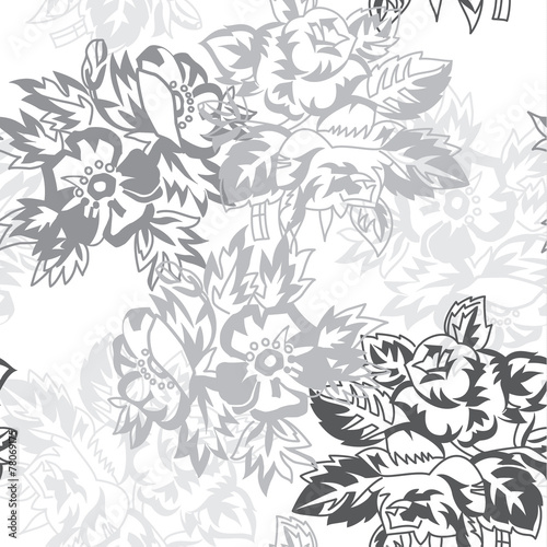 Poster Floral black and white seamless floral pattern