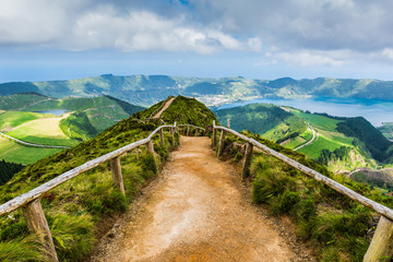 Walking path to the lakes of Sete Cidades, Azores