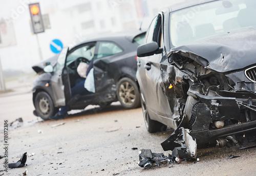 car crash collision in urban street Canvas Print