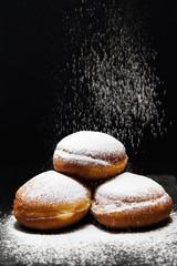 Panel Szklany Do kawiarni Pączki z dżemem i cukrem pudrem