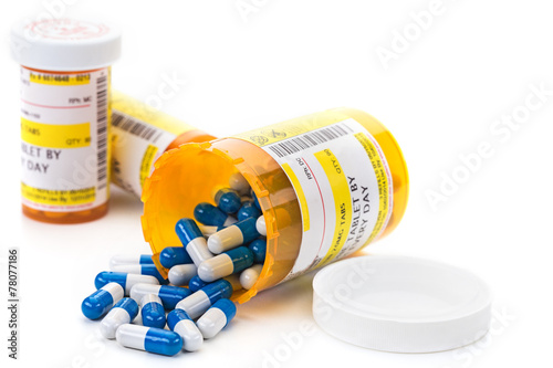 Photo Prescription medication in pharmacy vials