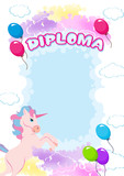 Diploma for children with pony and balloons