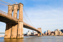 Brooklyn Bridge Over East River Viewed From New York City. Black