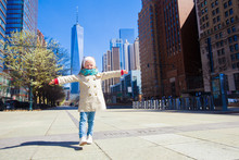 Adorable Little Girl Walking In New York City At Spring Sunny