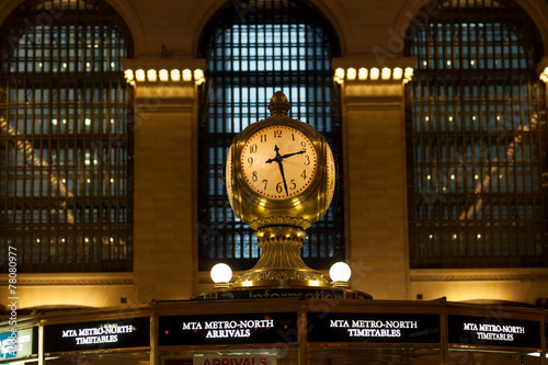 Antique clock in main concourse of Grand Central Terminal Canvas Print