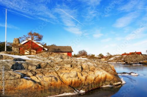 Staande foto Scandinavië Red wooden cottage in winter fjord