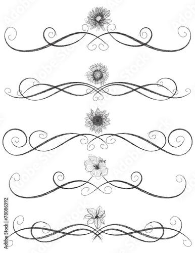 Obraz na plátně  Sketchy flower page rules