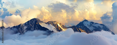 Foto op Canvas Beige alpine mountain landscape